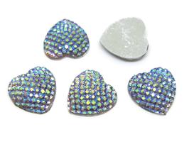 5 cabochons coeur irisé en acrylique - 14 x 14 mm - CCW61