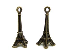 2 Breloques tour Eiffel en métal bronze - 28 x 7 mm - RZZ102