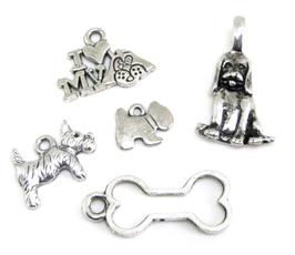 5 breloques chien en métal argenté - RZZ13