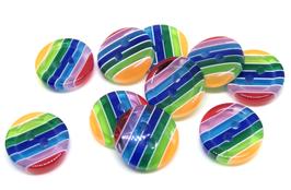10 boutons à rayures multicolores en résine - 12 mm - BT006
