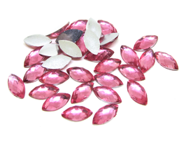 50 cabochons strass ovales roses en synthétique - 10 x 5 mm - CCW54