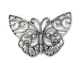 Pendentif papillon en métal argenté  - 38 x 28 mm - FFA9