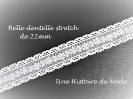 1 mètre de ruban dentelle écrue stretch à fleurs - 22 mm - D32