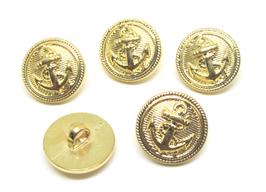 5 boutons marins dorés acrylique 18 mm - BT009