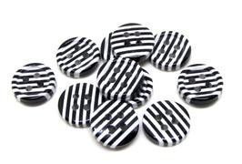 10 boutons rayés noir et blanc en résine - 11 mm  - BT086