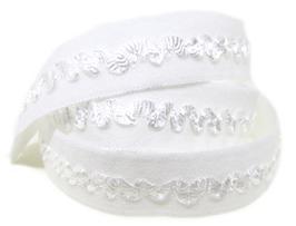 Ruban élastique blanc brodé - 15 mm ( au mètre )