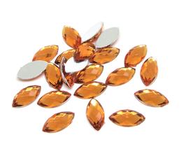 50 cabochons ovales à facettes synthétique orange - 10 x 5 mm - CCW73