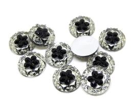 10 cabochons synthétique effet cristal avec fleur noire 12 mm - CCW81