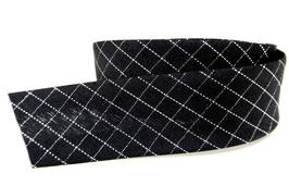 1 mètre de biais noir à carreaux  - 20 mm replié