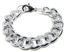Bracelet gros maillons en aluminium argenté  - B002