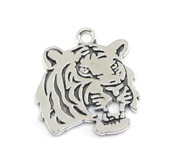 Breloque tête de tigre en métal argenté - 27 x 24 mm - RZZ9