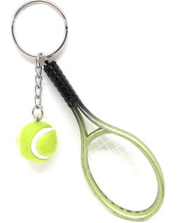 Porte-clés raquette de tennis avec balle  - 122 x 37 mm - V