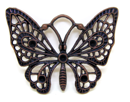 Pendentif papillon en métal cuivré  -  48 x 37 mm - RZZ99