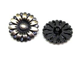 2 Boutons fleur en métal bronze  - B025T