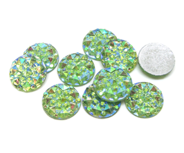 10 cabochons strass vert clair irisé synthétique 10 mm - CCW22