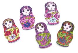 Lot 5 boutons poupées Russes en bois 30 x 17 mm- BT042