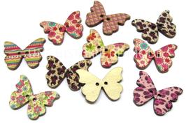 10 boutons papillons en bois couleurs mixtes - 28 x 21 mm - BT035