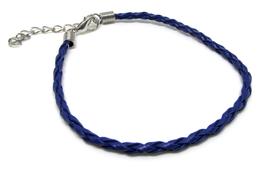 Bracelet cordon tressé bleu avec fermoir  BB01