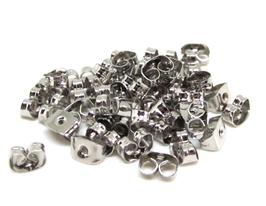 50 attaches poussoirs boucles d'oreilles en métal argenté