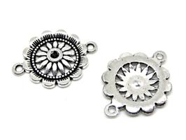 2 Connecteurs rosace en métal argenté - 28 x 21 mm - TR057