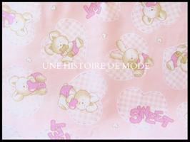 Tissu en coton rose motifs lapin et coeur - 50 x 45 cm - T74
