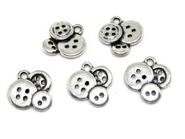 5 breloques boutons en métal argenté - 14 x 13 mm - RZZ85
