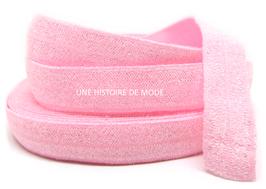 Ruban élastique rose pailletté 15 mm ( au mètre )