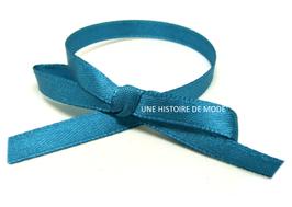 1 mètre de ruban en satin bleu canard - 6 mm -