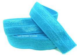 Ruban élastique bleu turquoise - 15 mm - ( au mètre )