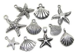 10 breloques sur le thème des coquillages en métal argenté  - RV001