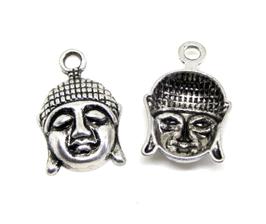 Breloque tête de Bouddha argentée - 22 x 20 mm - RZZ172