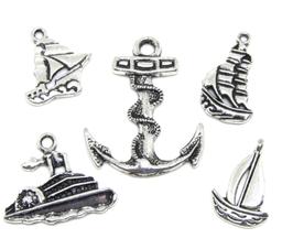 5 breloques bateau et ancre marine en métal argenté - RZZ51