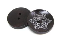 2 Boutons en bois flocon de neige  - 25 mm - BT091