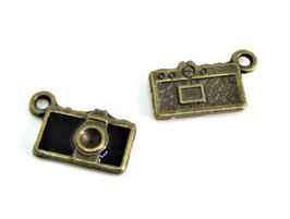 2 Breloques appareil photo en métal bronze et noir - 15 x 8 mm