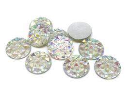 10 cabochons strass blanc irisé synthétique 10 mm - CCW23