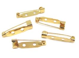 5 supports broches épingles en métal doré -  26 x 6 mm
