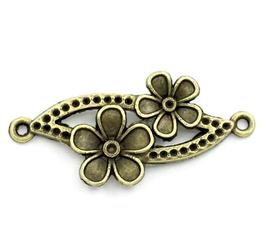 Connecteur fleur double en métal bronze 37 x 15 mm - TR008