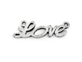 Connecteur Love en métal argenté - 33 x 10 mm - TR050