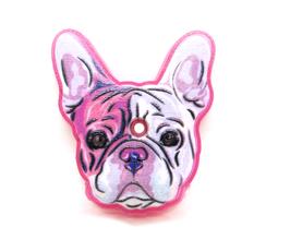 Cache-clé Bouledogue rose en silicone - 40 x 36 mm