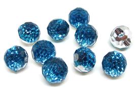 5 Boutons boules effet cristal bleu synthétique à facettes - 12 mm - BT018