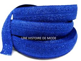 Ruban élastique bleu foncé pailletté 15 mm ( au mètre )