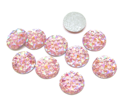 10 cabochons strass rose irisé synthétique 10 mm - CCW25