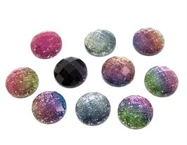 10 cabochons en résine glitter mixtes et aléatoires - CCW41
