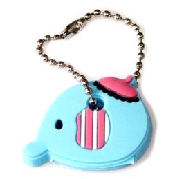 Cache-clé éléphant bleu en silicone - 36 x 28 mm