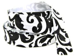 Ruban élastique noir et blanc baroque - 15 mm