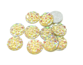 10 cabochons strass ronds jaune irisé synthétique 10 mm - CCW24