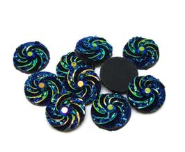 5 cabochons ronds synthétique bleu irisé 12 mm - CCW33