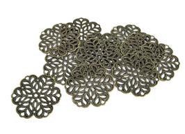 5 estampes filigrane fleur couleur bronze - 29 mm - E16