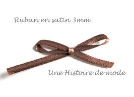 1 mètre de ruban en satin marron clair 3 mm