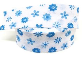 1 mètre de biais blanc à fleurs bleues - 20mm replié - BZ43C